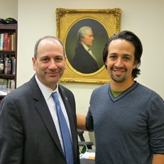 David Cowen and Lin-Manuel Miranda during the research phase for