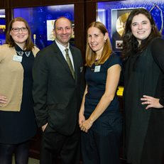 David Cowen with MoAF staff members Maura Ferguson, Kristin Aguilera and Alexis Sandler at the opening of the