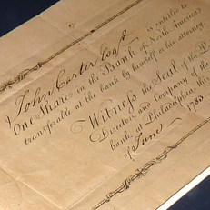 Earliest known American stock certificate made to John Carter, 1783.