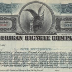 American Bicycle Company stock certificate specimen, 1902. Credit: Bob Kerstein, Scripophily.com