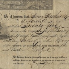 Second Bank of the United States bond issued to Baring Brothers & Co., 1830. Credit: Museum of American Finance