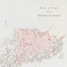 "Map titled ""Plan of Part of the District of Main,"" which was commissioned from the workshop of William Faden, the king's geographer. Credit: The Baring Archive"