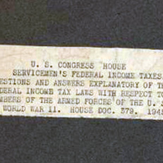 US Congress House Servicemen's Federal Income Taxes Questions and Answers