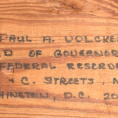 2 x 4 Wood Mailed in Protest to Paul Volcker