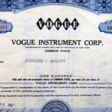Vogue Instrument Corp. certificate issued to Bernie Madoff