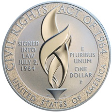 1964 Civil Rights Act Silver Dollar (reverse)