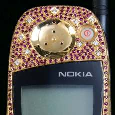 14 karat gold and jeweled Nokia cell phone by Sidney Mobell