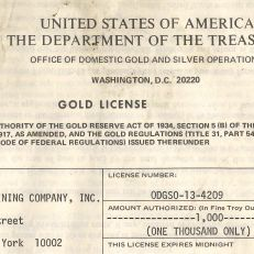 Rare US Treasury Department gold license, courtesy of Alan Kaye
