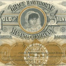 1886 Grace Hawthorne Gold and Silver Mining Company stock certificate, courtesy of John E. Herzog