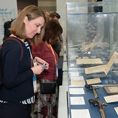 Visitor views Hamilton/Burr historic reproduction dueling pistols