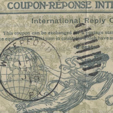 International reply coupon, 1920s.