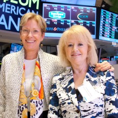 Museum Trustees Andrea de Cholnoky and Consuelo Mack on the NYSE trading floor. Photo courtesy of Valerie Caviness.