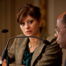 CNBC's Maria Bartiromo interviews TIAA-CREF President and CEO Roger Ferguson. Photo courtesy of Valerie Caviness.