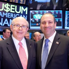 MoAF Chairman Richard Sylla and President David Cowen on the NYSE trading floor. Photo courtesy of Valerie Caviness.