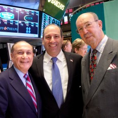 Kevin Shine, Mark Shenkman, David Cowen and John Herzog on the NYSE trading floor. Photo courtesy of Valerie Caviness.
