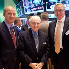 MoAF Trustees David Shuler, Myron Kandel, Charles Wait and Mark Shenkman on the NYSE trading floor. Photo courtesy of Valerie Caviness.