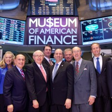 MoAF leadership prepares to ring the closing bell on October 19 in honor of the Museum's 25th anniversary. Photo courtesy of Valerie Caviness.
