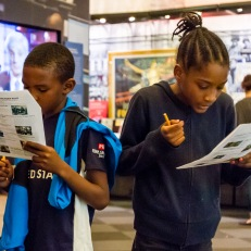 Fourth graders participate in Scavenger Hunt at Free Saturday launch event.